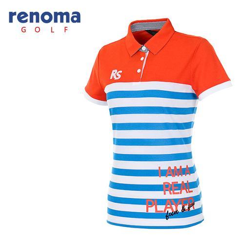[레노마골프]여성 레터링 스트라이프 티셔츠 RATS90631-DO