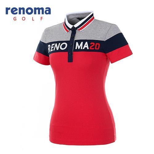 [레노마골프]여성 컬러 블록 로고 반팔 티셔츠 RATS89631-RD
