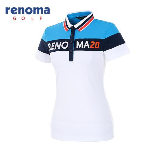 [레노마골프]여성 컬러 블록 로고 반팔 티셔츠 RATS89631-WH