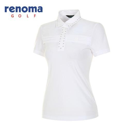 [레노마골프]여성 스터드 카라 솔리드 반팔 티셔츠 RATS81631-WH