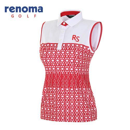 [레노마골프]여성 지오매트릭 슬리브리스 티셔츠 RATS7A631-RD