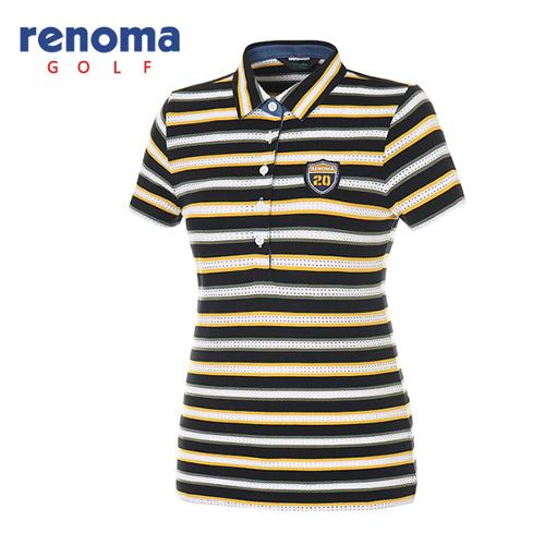 [레노마골프]여성 메쉬 스트라이프 반팔 카라 티셔츠 RATS87631-MS
