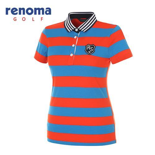 [레노마골프]여성 블록 스트라이프 피케 반팔 티셔츠 RATS93631-DB