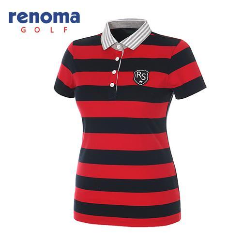 [레노마골프]여성 블록 스트라이프 피케 반팔 티셔츠 RATS93631-RD