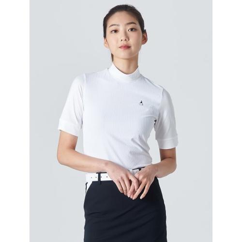 [빈폴골프] 여성 화이트 플리츠 하이넥 5부 티셔츠 (BJ0342A201)
