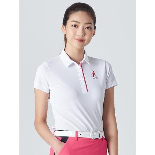 [빈폴골프] 여성 화이트 에센셜 빅로고 칼라 티셔츠 (BJ0342A231)