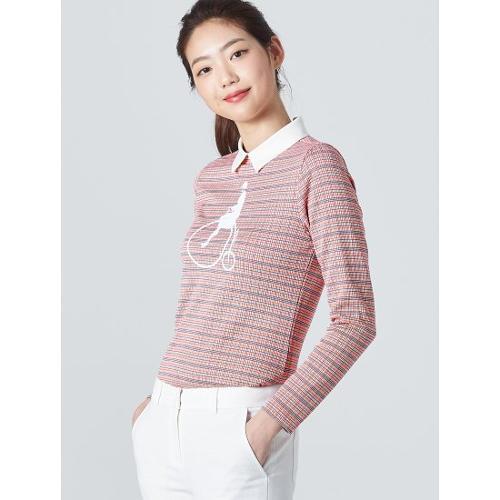 [빈폴골프] 여성 핑크 체크 빅로고 칼라 티셔츠 (BJ0141A01X)