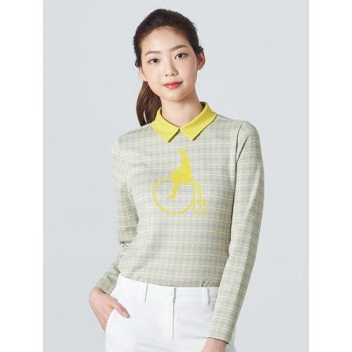 [빈폴골프] 여성 옐로우 체크 빅로고 칼라 티셔츠 (BJ0141A01E)