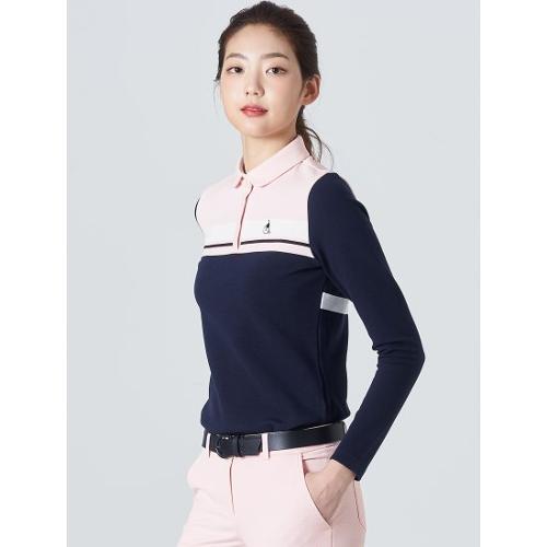 [빈폴골프] 여성 네이비 배색 블록 칼라 티셔츠 (BJ0141A06R)