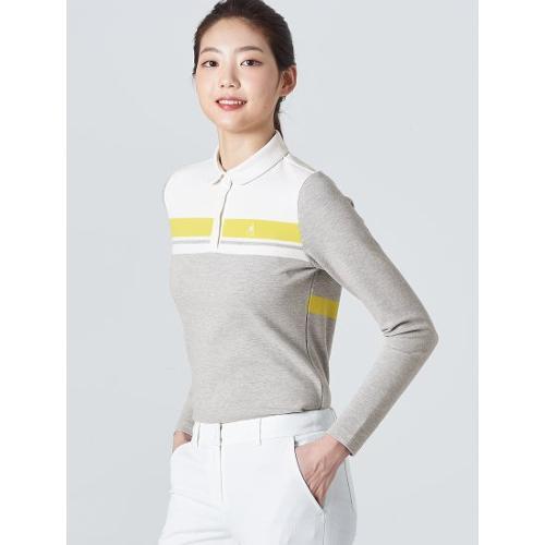 [빈폴골프] 여성 그레이 배색 블록 칼라 티셔츠 (BJ0141A063)