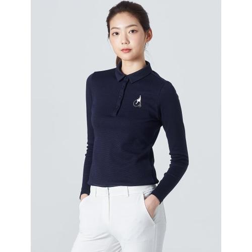 [빈폴골프] 여성 네이비 투톤 피케 칼라 티셔츠 (BJ0141A05R)