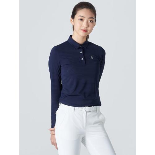 [빈폴골프] 여성 네이비 핀 스트라이프 칼라 티셔츠 (BJ0341A14R)