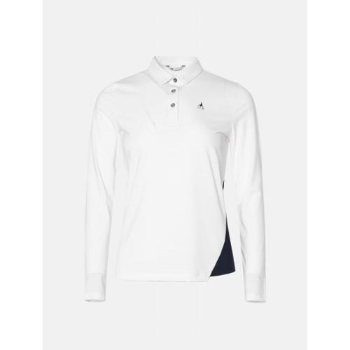 [빈폴골프] 여성 화이트 핀 스트라이프 칼라 티셔츠 (BJ0341A141)