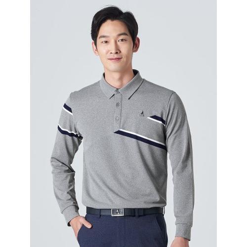 [빈폴골프] 남성 그레이 사선 블록 칼라 티셔츠 (BJ0141B053)