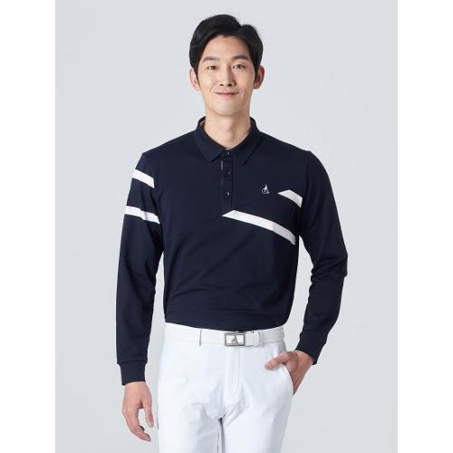 [빈폴골프] 남성 네이비 사선 블록 칼라 티셔츠 (BJ0141B05R)