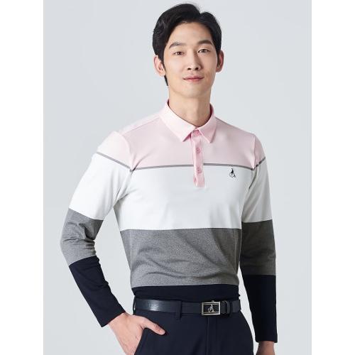 [빈폴골프] 남성 그레이 컬러 블럭 칼라 티셔츠 (BJ0141B063)