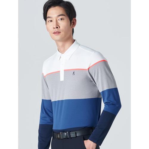 [빈폴골프] 남성 블루 컬러 블럭 칼라 티셔츠 (BJ0141B06P)