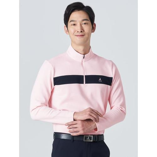 [빈폴골프] 남성 핑크 원포인트 반집업 하이넥 티셔츠 (BJ0141B09X)