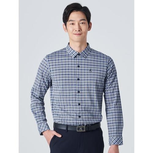 [빈폴골프] 남성 블루 체크 저지 셔츠형 티셔츠 (BJ0141B10P)