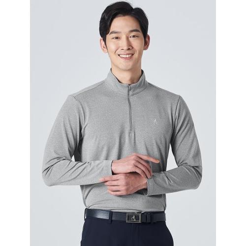 [빈폴골프] 남성 그레이 솔리드 반집업 티셔츠 (BJ0241B113)