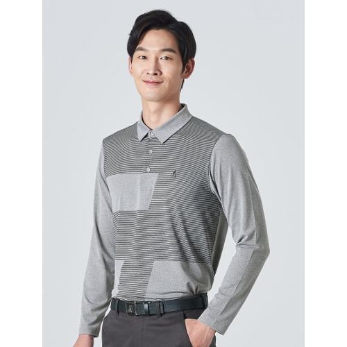 [빈폴골프] 남성 그레이 멜란지 사선 블록 칼라 티셔츠 (BJ0241B133)