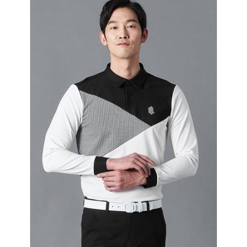[빈폴골프] [NDL라인] 남성 화이트 사선 블록 칼라 티셔츠 (BJ0241M441)