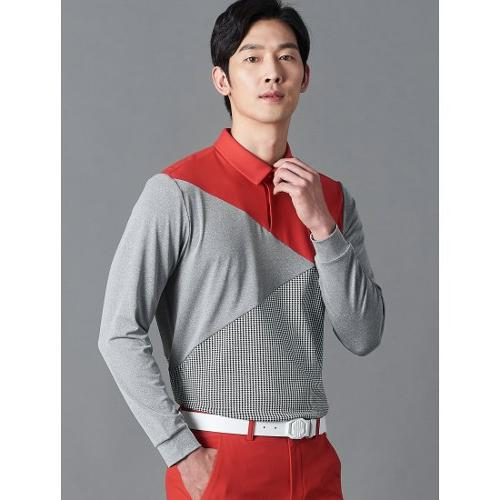 [빈폴골프] [NDL라인] 남성 레드 사선 블록 칼라 티셔츠 (BJ0241M446)