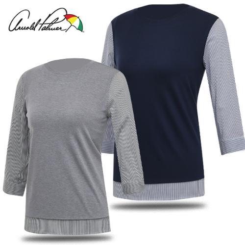[아놀드파마] 우븐 믹스앤매치 여성 보우트넥 7부 티셔츠/골프웨어_249750