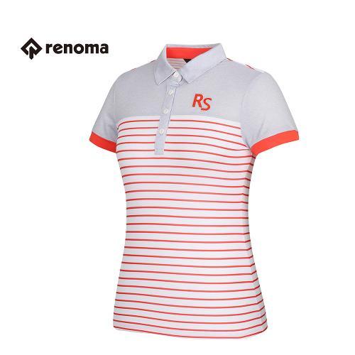 [레노마골프] 여성 스트라이프 배색 카라 반팔 티셔츠 RATS85631-DO