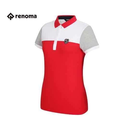 [레노마골프] 여성 배색 포인트 카라 반팔 티셔츠 RATS83631-RD