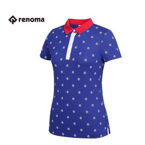 [레노마골프] 여성 로고 패턴 카라 배색 반팔 티셔츠 RWTYG6111-906