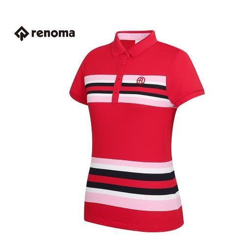 [레노마골프] 여성 스트라이프 포인트 카라 반팔 티셔츠 RWTPG6102-500