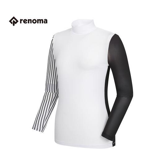 [레노마골프] 여성 소매 스트라이프 배색 반목 티셔츠 RWTHG6130-100