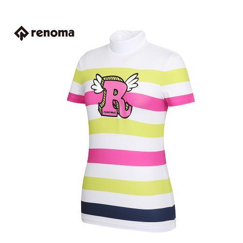 [레노마골프] 여성 스트라이프 프린팅 반목 반팔 티셔츠 RWTHG6127-100