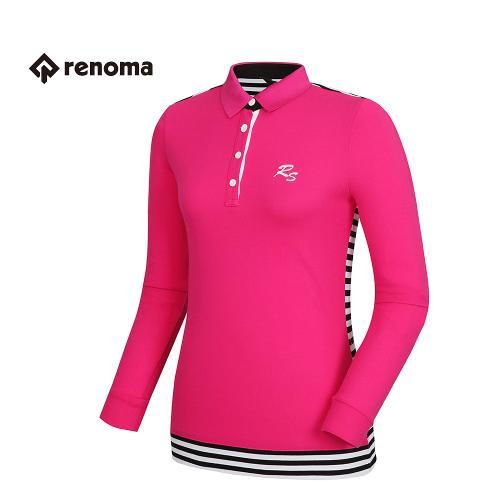 [레노마골프] 여성 스트라이프 배색 카라 티셔츠 RATS63611-PK