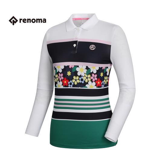 [레노마골프]여성 패턴 플라워 포인트 티셔츠 RWTPH5103-100