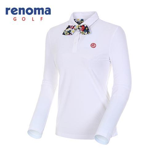 [레노마골프]여성 꽃무늬 스카프 카라 티셔츠 RWTPH5102-100