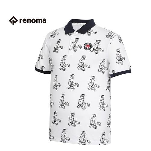 [레노마골프] 남성 패턴 배색 카라 반팔 티셔츠 RMTPG2117-100