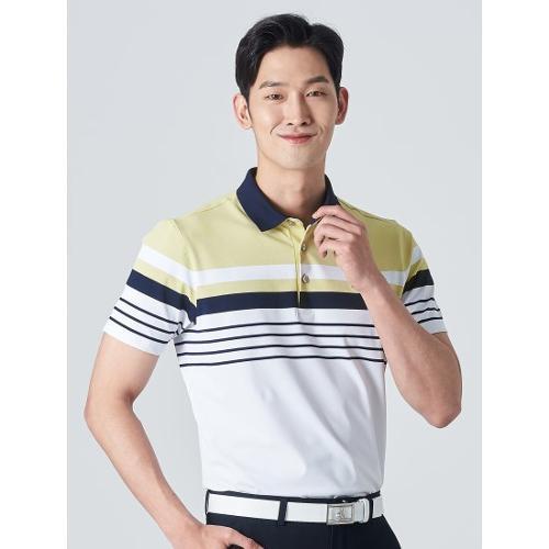 [빈폴골프] 남성 옐로우 배색 스트라이프 칼라 티셔츠 (BJ0342B17E)