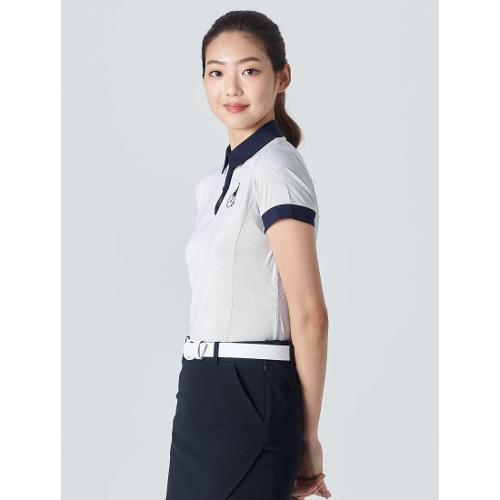[빈폴골프] 여성 화이트 투톤 텍스처 칼라 티셔츠 (BJ0342A171)