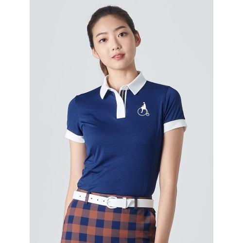 [빈폴골프] 여성 블루 투톤 텍스처 칼라 티셔츠 (BJ0342A17P)