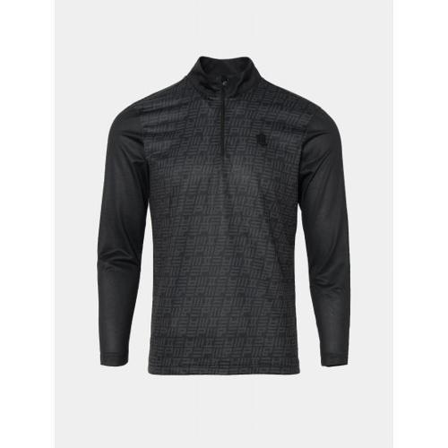 [빈폴골프] [NDL라인] 남성 블랙 뉴 로고 그래픽 반집업 티셔츠 (BJ0441M485)