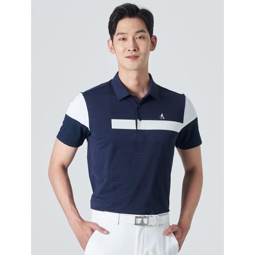 [빈폴골프] 남성 블루 배색 블록 칼라 티셔츠 (BJ0342B19P)