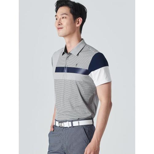 [빈폴골프] 남성 그레이 배색 블록 칼라 티셔츠 (BJ0342B193)
