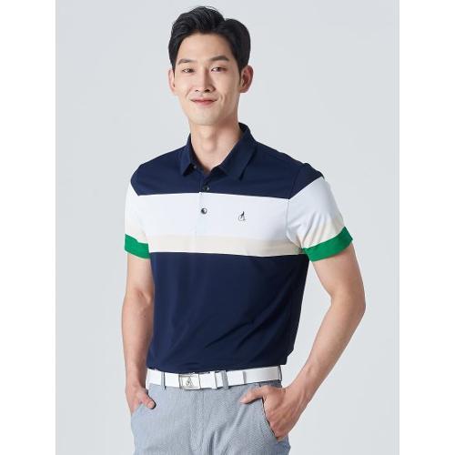 [빈폴골프] 남성 네이비 배색 보더 칼라 티셔츠 (BJ0342B18R)