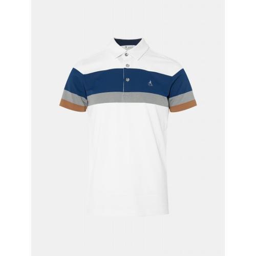 [빈폴골프] 남성 화이트 배색 보더 칼라 티셔츠 (BJ0342B181)