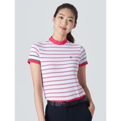 [빈폴골프] 여성 마젠타 블록 스트라이프 하이넥 티셔츠 (BJ0342A18W)