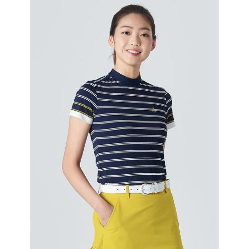 [빈폴골프] 여성 네이비 블록 스트라이프 하이넥 티셔츠 (BJ0342A18R)