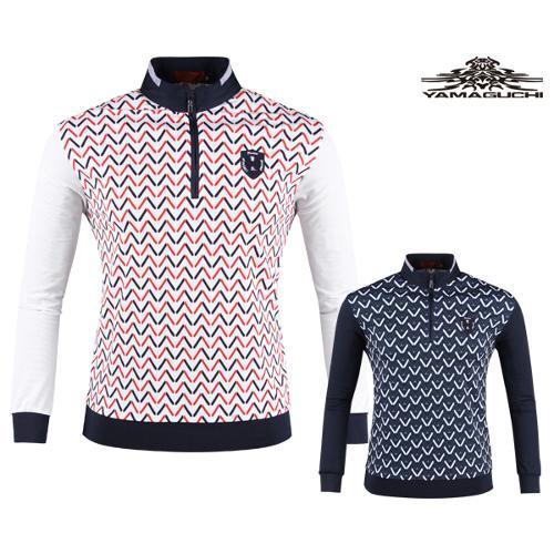 야마구찌 쉐브론 체크 프리미엄 반집업 골프셔츠 YG20S403