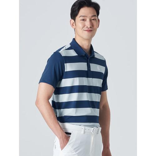 [빈폴골프] [NDL라인] 남성 블루 보더 스트라이프 칼라 티셔츠 (BJ0442M50P)